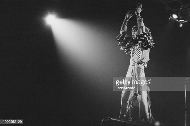 British singer Mick Jagger as The Rolling Stones perform at Earls Court, as part of their Tour of Europe '76, London, England, May 1976.