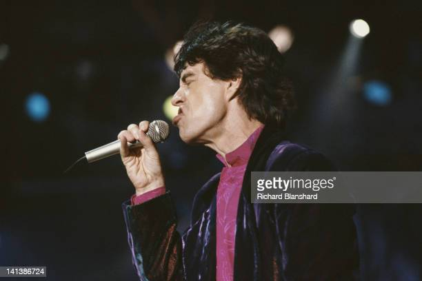 British singer Mick Jagger in concert with the Rolling Stones circa 1990