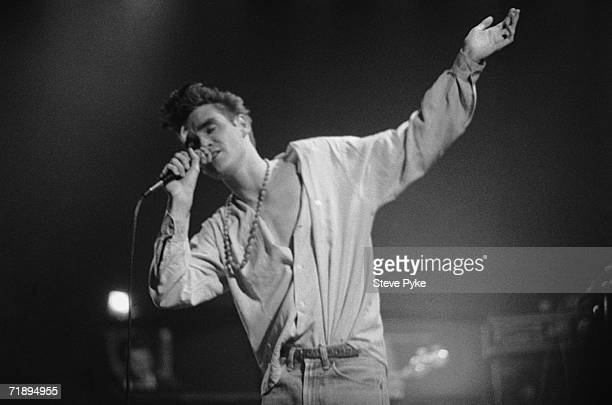British singer Morrisey performing with his indie band The Smiths, mid 1980s.