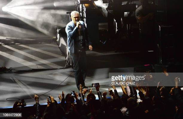 British singer Morrissey performs during a concert at the Auditorio Nacional in Mexico City on November 22 2018