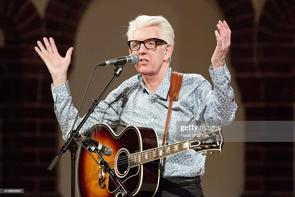 British singer Nick Lowe performs live during a concert at the Passionskirche on February 28, 2014 in Berlin, Germany.
