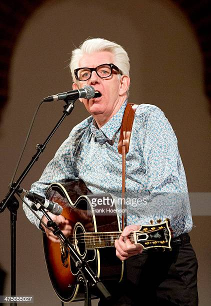 British singer Nick Lowe performs live during a concert at the Passionskirche on February 28 2014 in Berlin Germany