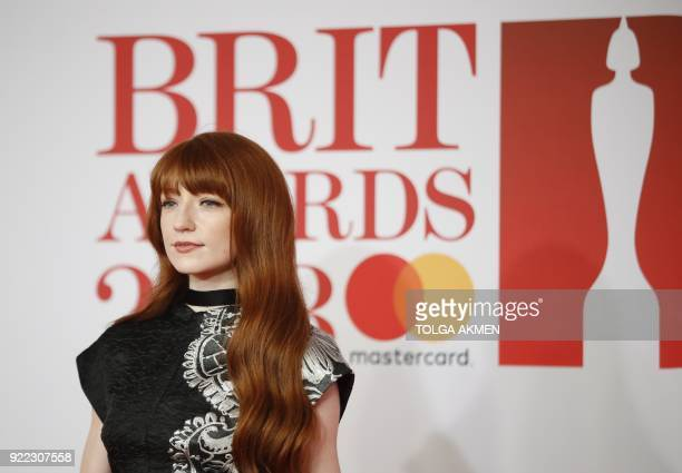British singer Nicola Roberts poses on the red carpet on arrival for the BRIT Awards 2018 in London on February 21 2018 / AFP PHOTO / Tolga AKMEN /...