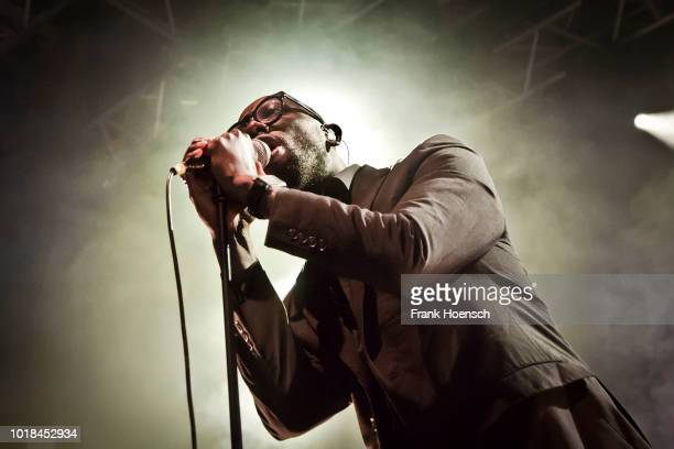 British singer Obaro Ejimiwe aka Ghostpoet performs live on stage during the Festival PopKultur at the Kesselhaus on August 17 2018 in Berlin Germany