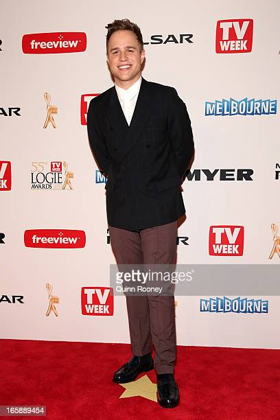 British singer Olly Murs arrives at the 2013 Logie Awards at the Crown Palladium on April 7 2013 in Melbourne Australia