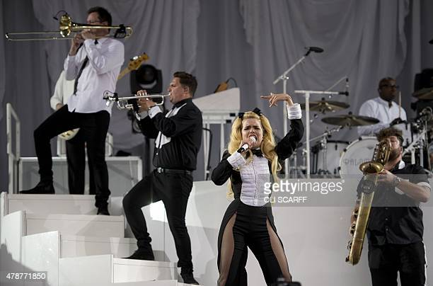 British singer Paloma Faith performs on the Pyramid Stage at the Glastonbury Festival of Music and Performing Arts on Worthy Farm near the village of...