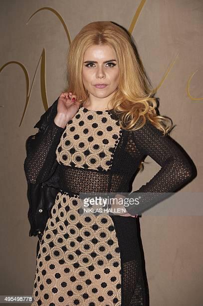 British singer Paloma Faith poses on arrival for the premiere of the Burberry festive film in London on November 3 2015 AFP PHOTO / NIKLAS HALLE'N