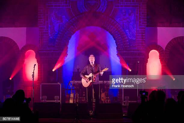 British singer Pete Lincoln of The Sweet performs live during a concert at the Passionskirche on January 31 2016 in Berlin Germany