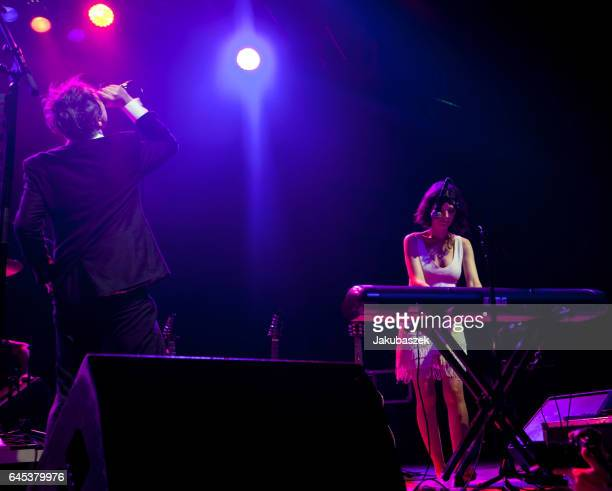 British Singer Peter Doherty and keyboardist Katia de Vidas perform live during a concert at the Huxleys Neue Welt on February 25 2017 in Berlin...