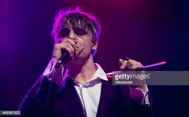 British Singer Peter Doherty performs live during a concert at the Huxleys Neue Welt on February 25 2017 in Berlin Germany