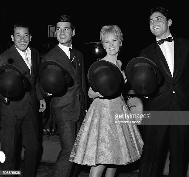 British Singer Petula Clark Now A Star In France With Friends Henri Salvador JeanClaude Brialy And Sacha Distel At the Olympia Music Hall in Paris...