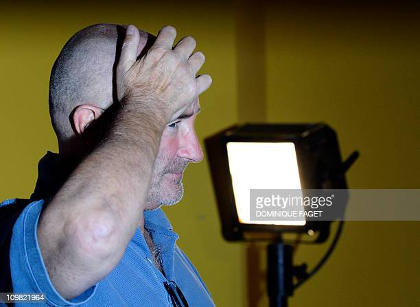 British singer Phil Collins poses during a photocall for the presentation of his new album 'Going back' in Madrid on September 22 2010 AFP PHOTO /...