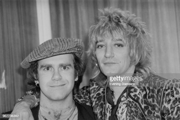 British singer pianist and composer Elton John with British rock singer and songwriter Rod Stewart at the Olympia London UK 22nd December 1978
