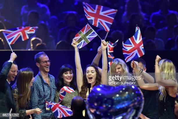 British singer representing United Kingdom with the songNever give up on you Lucie Jones reacts during vote counting during the final of the 62nd...