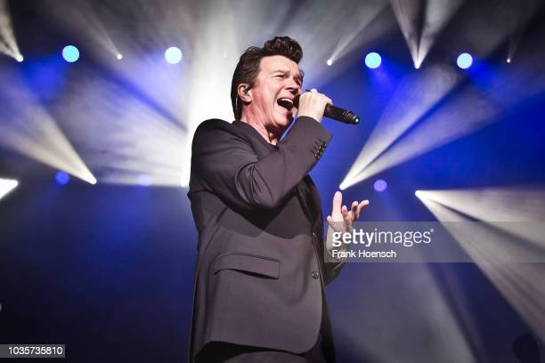 British singer Rick Astley performs live on stage during a concert at the Admiralspalast on September 18 2018 in Berlin Germany