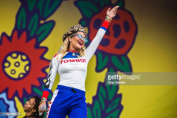 British singer Rita Ora performs live on stage during the second day of the Lollapalooza Berlin music festival at Olympiagelände on September 8, 2019...