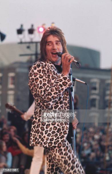 British singer Rod Stewart in concert with the Faces during Rock At The Oval in London 18th September 1971