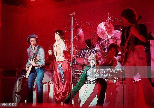 British singer Rod Stewart performing at the Olympia London December 1976 Left to right Jim Cregan Stewart Carmine Appice Philip Chen and Gary...