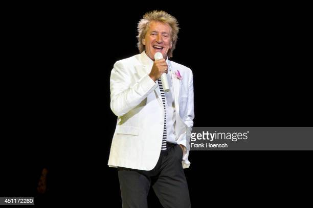 British singer Rod Stewart performs live during a concert at the O2 World on June 24 2014 in Berlin Germany