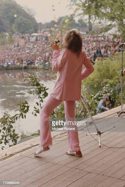 British singer Rod Stewart performs live on stage with Faces at the Garden Party at the Crystal Palace Bowl in Crystal Palace Park south London on...