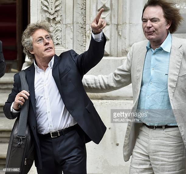British singer Roger Daltrey of The Who and British cellist Julian Lloyd Webber arrive for a Best of Creative reception at the Foreign and...