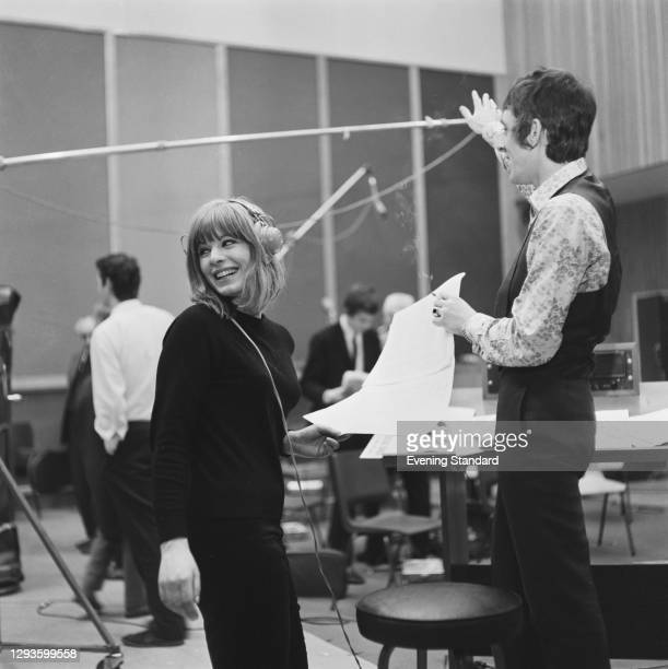 British singer Ross Hannaman with songwriter and arranger Mike Leander in a recording studio, UK, 25th April 1967.