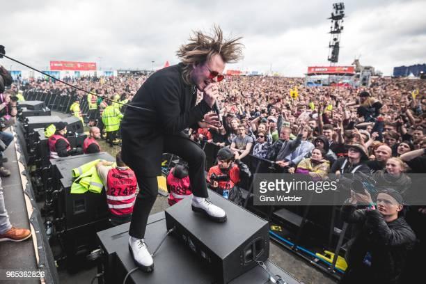 British singer Roughton Reynolds aka Rou of Enter Shikari performs live on stage during Rock am Ring at Nuerburgring on June 1, 2018 in Nuerburg,...