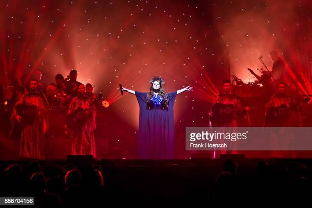 British singer Sarah Brightman performs with Gregorian live on stage during the Royal Christmas Gala at the Tempodrom on December 5 2017 in Berlin...