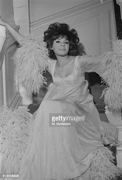 British singer Shirley Bassey wearing evening gown by British fashion designer Clive Evans UK 2nd June 1968