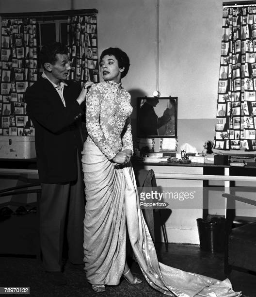 1957 British singer Shirley Bassey with her manager Michael Sullivan in the dressing room at the Astoria Brixton