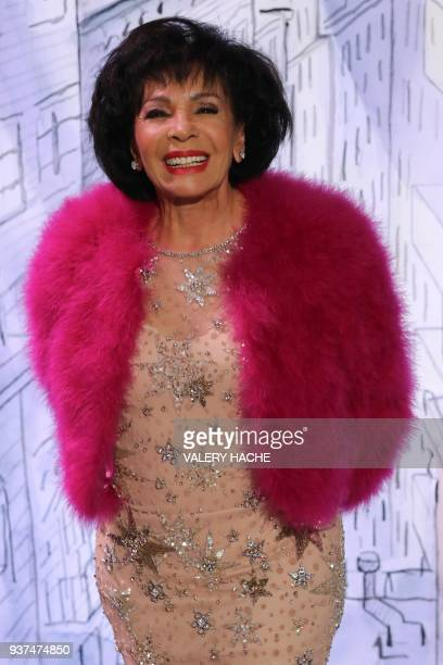 British singer Shirley Veronica Bassey aka Shirley Bassey arrives for the annual Rose Ball at the MonteCarlo Sporting Club in Monaco on March 24 2018...