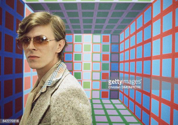 British singer, songwriter and actor David Bowie in the workshop of Hungarian French artist Victor Vasarely.