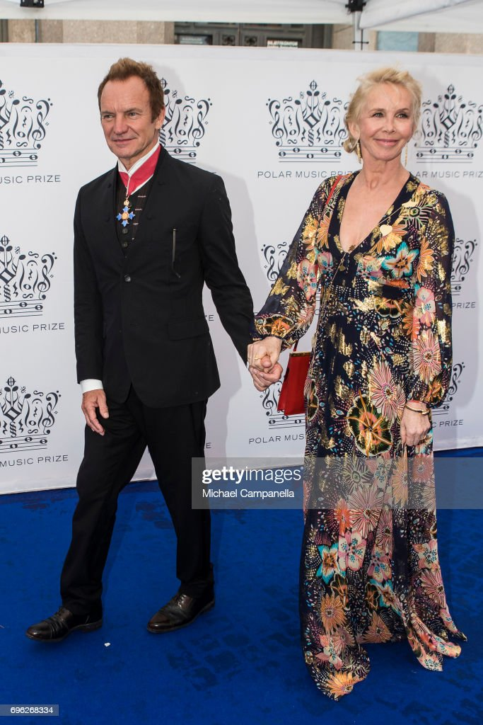 British singer Sting and his wife British producer Trudie Styler attend Polar Music Prize on June 15, 2017 in Stockholm, Sweden.