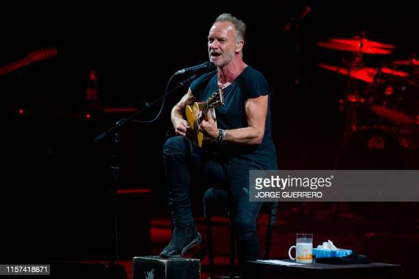 British singer Sting performs during a concert at the Starlite Music Festival in Marbella on July 23, 2019.