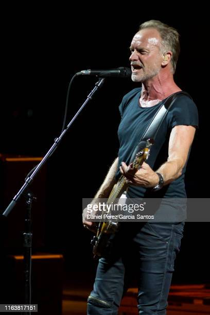 British singer Sting performs during a concert at the Starlite Music Festival on July 23, 2019 in Marbella, Spain.