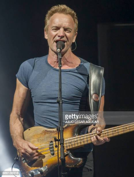 British singer Sting performs during the presentation of his album 57th 9th at the Citibanamex Auditorium in Monterrey Mexico May 20 2017 / AFP PHOTO...