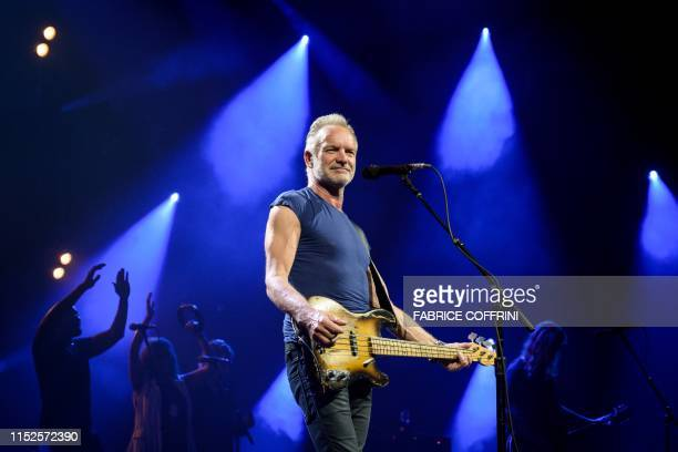 British singer Sting performs on stage during the opening day of the 53th edition of Montreux Jazz Festival on June 28, 2019 in Montreux. /...