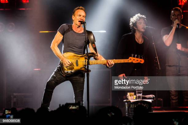 British singer Sting performs with his son Joe Sumner and the american band The Last Bandoleros at Fabrique. Milan , March 23, 2017