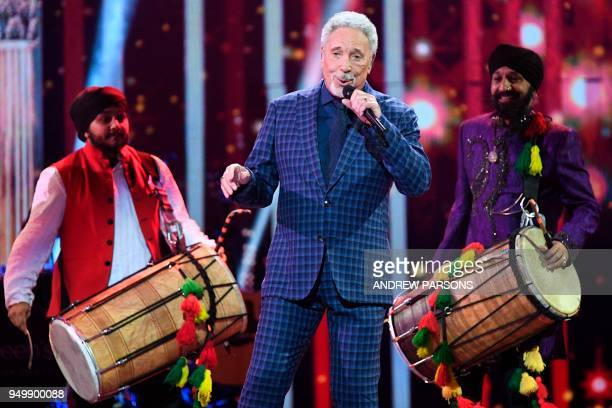 British singer Tom Jones performs at The Queen's Birthday Party concert at the Royal Albert Hall in London on April 21 2018 on the occassion of...