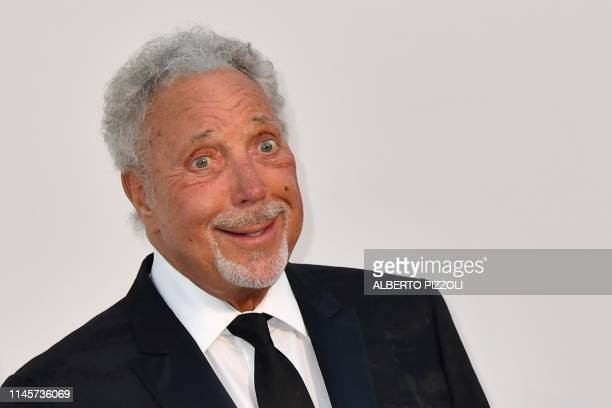 British singer Tom Jones poses as he arrives on May 23, 2019 for the amfAR 26th Annual Cinema Against AIDS gala at the Hotel du Cap-Eden-Roc in Cap...