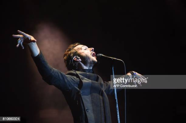 British singer Tom Smith and his band Editors perform on stage during the 29th Eurockeennes rock music festival on July 7 2017 in Belfort eastern...