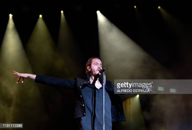 British singer Tom Smith of the band Editors performs during the first day of the 'Vive Latino' music festival in Mexico City on March 16 2019