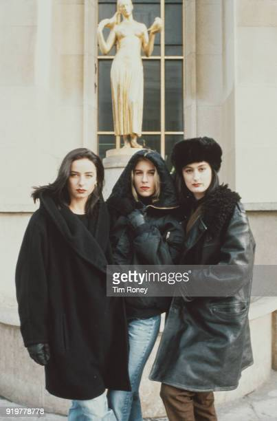British singers Keren Woodward Sara Dallin Siobhan Fahey of pop vocal group Bananarama in Paris France 1989
