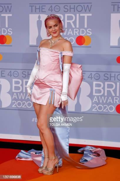 British singersongerwriter AnneMarie Nicholson poses on the red carpet on arrival for the BRIT Awards 2020 in London on February 18 2020 / RESTRICTED...