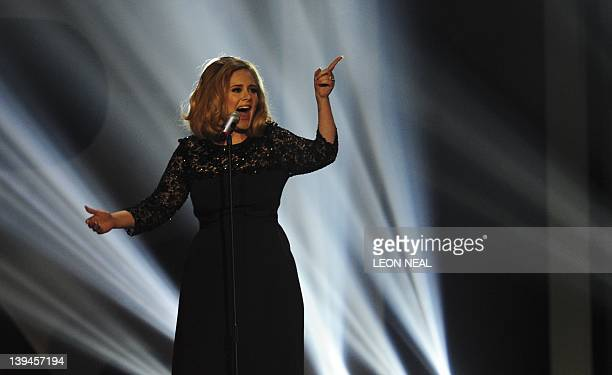 British singersongwriter Adele performs on stage at the BRIT Awards 2012 in London on February 21 2012 AFP PHOTO / LEON NEAL