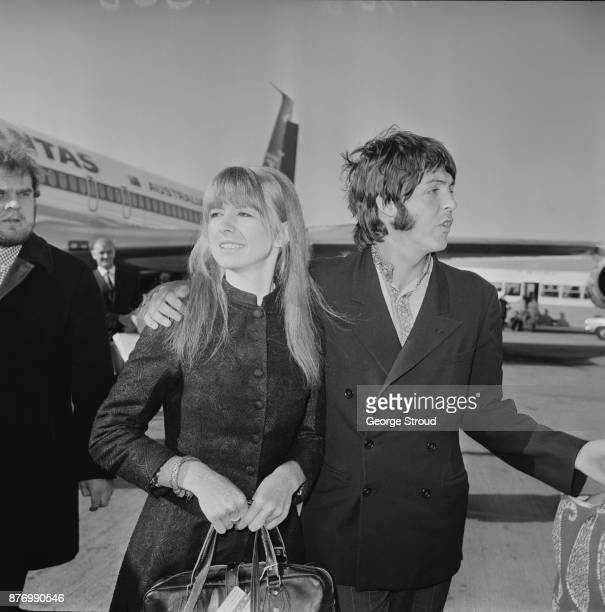 British singersongwriter and musician Paul McCartney and actress Jane Asher arrive at Heathrow Airport from India London UK 27th March 1968
