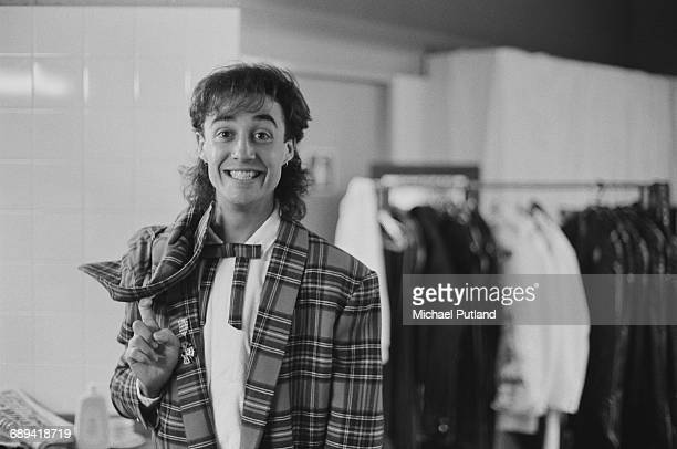 British singersongwriter Andrew Ridgeley of Wham backstage during the pop duo's 1985 world tour January 1985 'The Big Tour' took in the UK Japan...