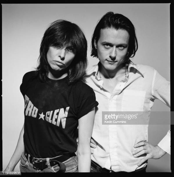 British singer-songwriter Brett Anderson of rock band Suede and American singer-songwriter and musician Chrissie Hynde of rock band The Pretenders,...