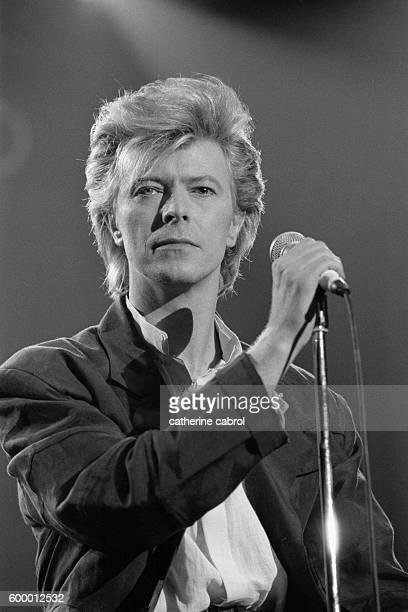 British singer-songwriter David Bowie in concert in Paris.