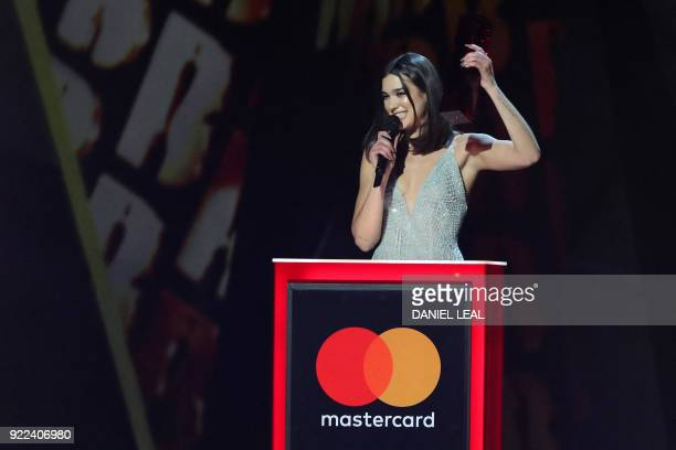 British singersongwriter Dua Lipa collects the award for British female solo artist during the BRIT Awards 2018 ceremony and live show in London on...